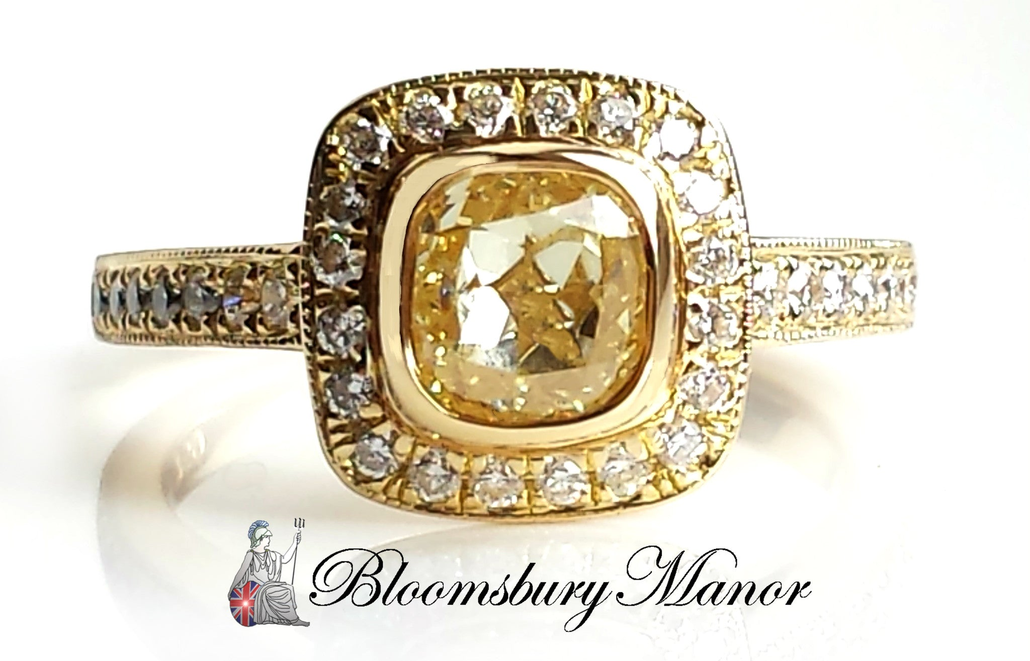1.31ct Natural Fancy Yellow FY/VS2 Diamond Legacy style Engagement Ring 18k Gold