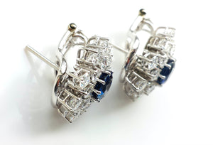 1.8tcw Diamond & Sapphire Flower Earrings, Italy