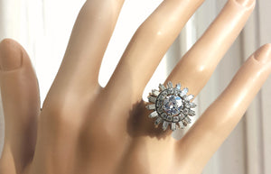 Vintage Antique French 1950s 3.77tcw Old Cut Diamond Ballerina Ring Platinum