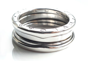 Bulgari Bvlgari B.Zero1 3-Band Ring in 18K White Gold, Size 53, M (UK)