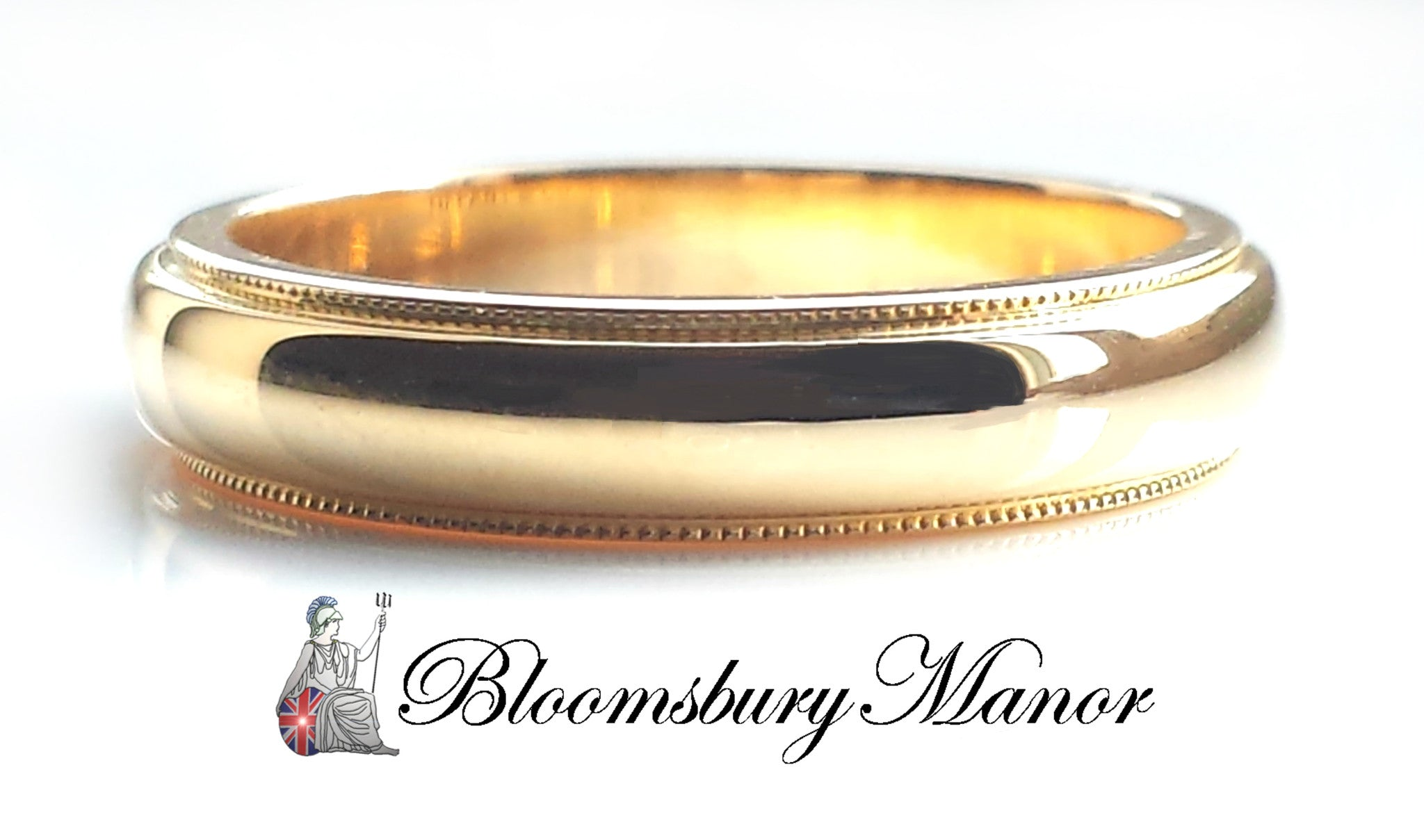 4mm Millegrain Wedding Band in 18k Yellow Gold Size L