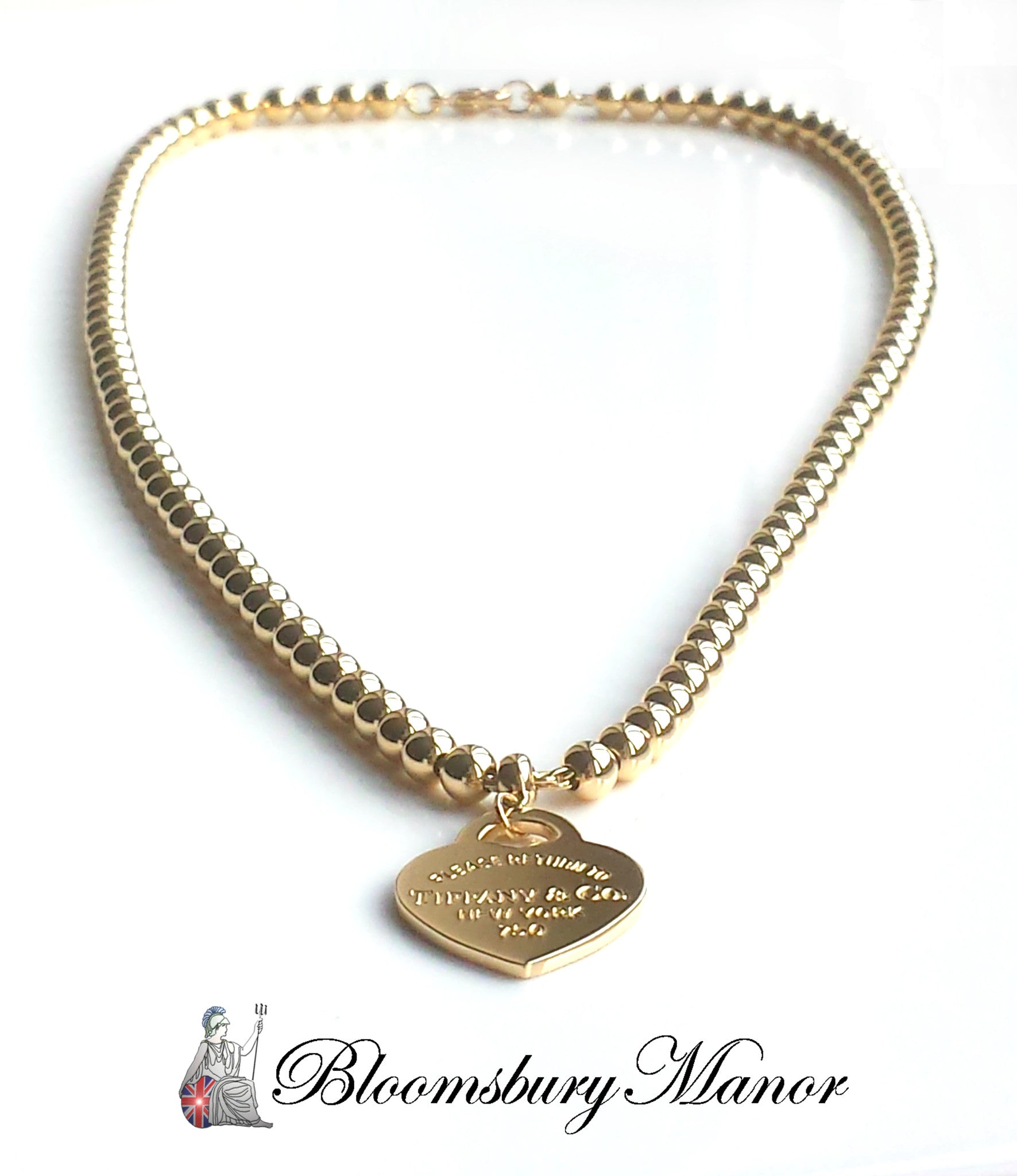 aa6d84889 Tiffany & Co. Return to™ 18k Yellow Gold Small Bead Necklace with Hear -  Bloomsbury Manor Ltd