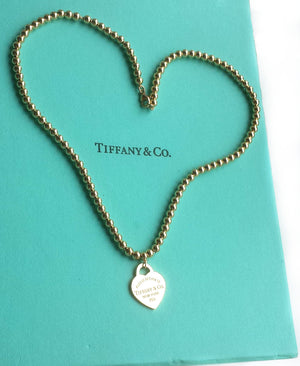 Tiffany & Co. Return to™ 18k Yellow Gold Small Bead Necklace with Heart Tag, 16 inches