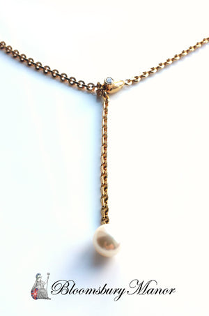 Cartier 18k Yellow Gold Akoya Cultured Pearl & Diamond Lariat Necklace 18in '01