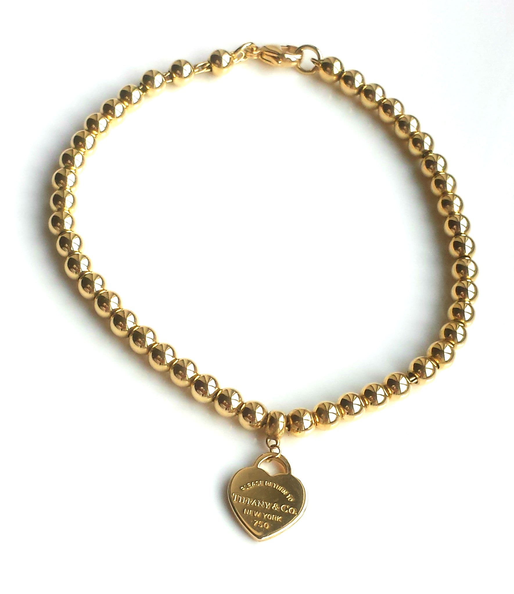 afe8c7df6 Tiffany & Co. Return to 18k Yellow Gold Bead Bracelet & Mini Heart Tag –  NEW!