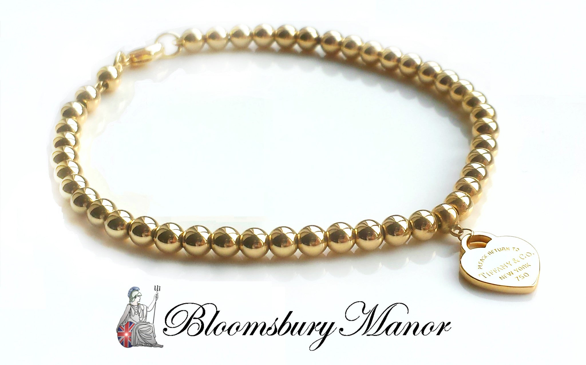 d7e1c23af Tiffany & Co. Return to 18k Yellow Gold Bead Bracelet & Mini Heart Tag -  Bloomsbury Manor Ltd