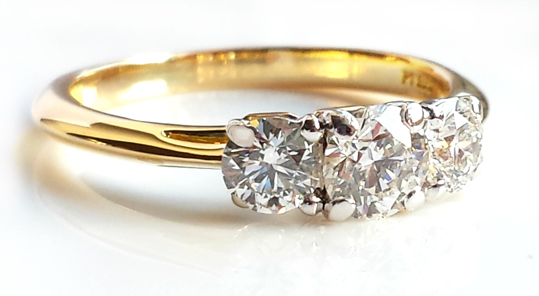 0626d8263 Vintage Tiffany & Co. 0.90ct 3-Stone Diamond Engagement Ring in 18K Gold