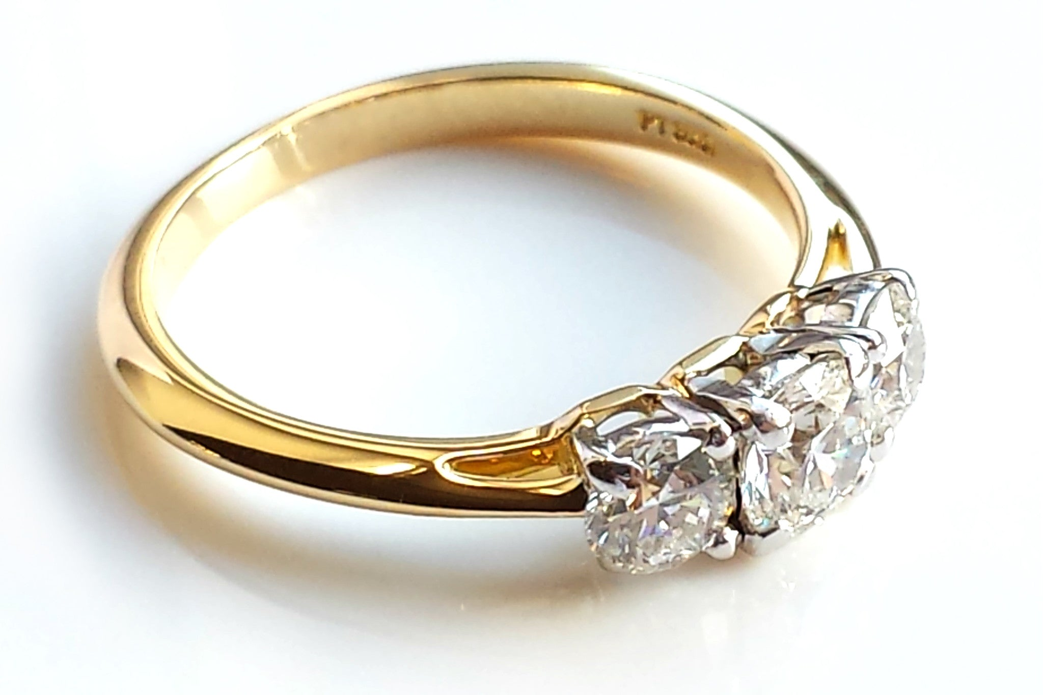 Vintage Tiffany & Co 0 90ct 3 Stone Diamond Engagement Ring in
