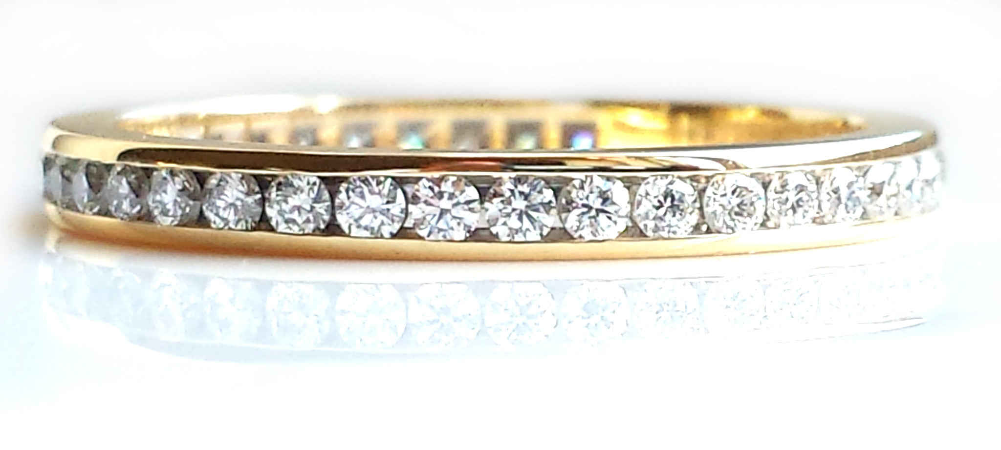 diamond eternity ring white yellow bands band catbird s saturnring saturn gold