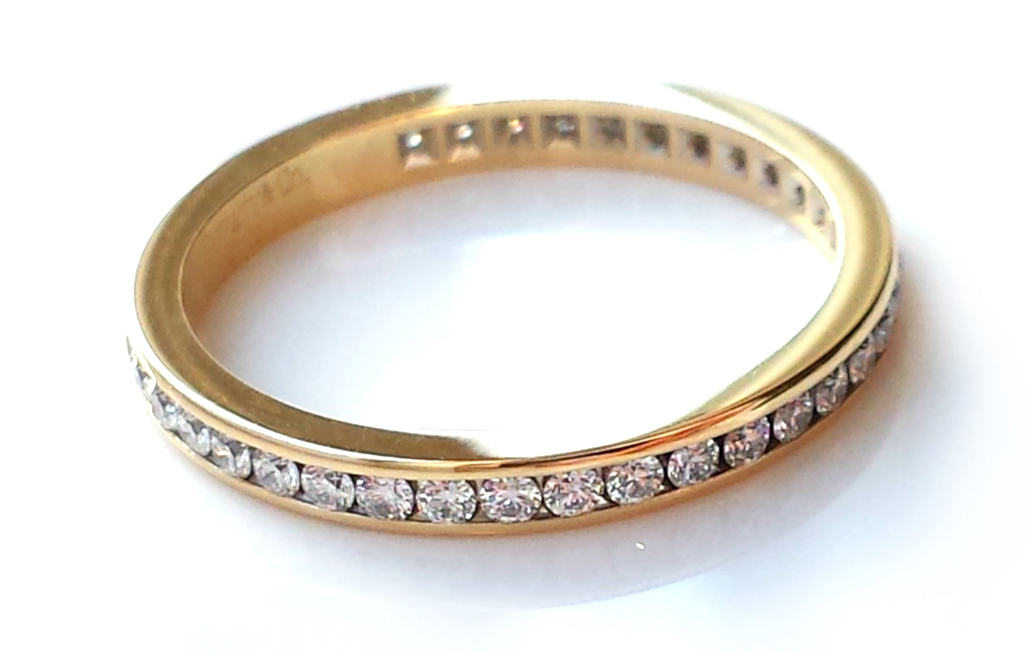 tiffany co 2mm diamond 18k gold eternity ring wedding band size l - Tiffany Wedding Ring