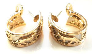 Vintage 1991 Cartier 'Pharaon' Panthere Earrings in 18k Yellow Gold, Large