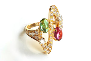 Bulgari 'Elisia' 18k Yellow Gold Ring with Diamonds & Green and Red Tourmaline Gemstones