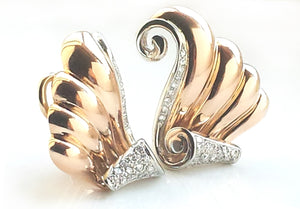 Vintage French 50s 18k Rose & White Gold Diamond Scroll Earrings Mid Century