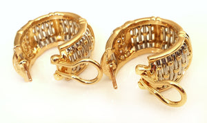Vintage 1990s Cartier 'Entrelaces' Diamond Earrings in Woven 18k Yellow Gold & Steel