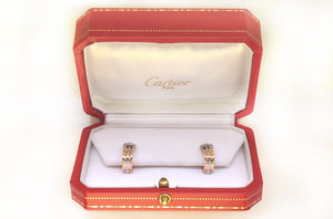 Cartier C de Decor Trinity 18k Gold Diamond Earrings Pierced Ears Box 1990s