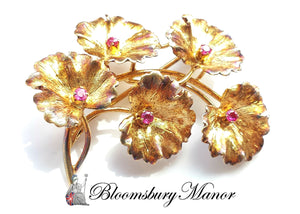 Tiffany & Co. Mid Century 1950s 18k Gold & Ruby Flower Brooch