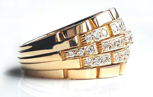 Cartier Vintage 1980s Maillon Panthere 5 Row Diamond Bombe Ring in 18k Gold, Size N