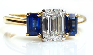 Tiffany & Co. Emerald Cut 1.95tcw D/VS1 Three Stone Diamond & Sapphire Engagement Ring in 18k Gold & Platinum