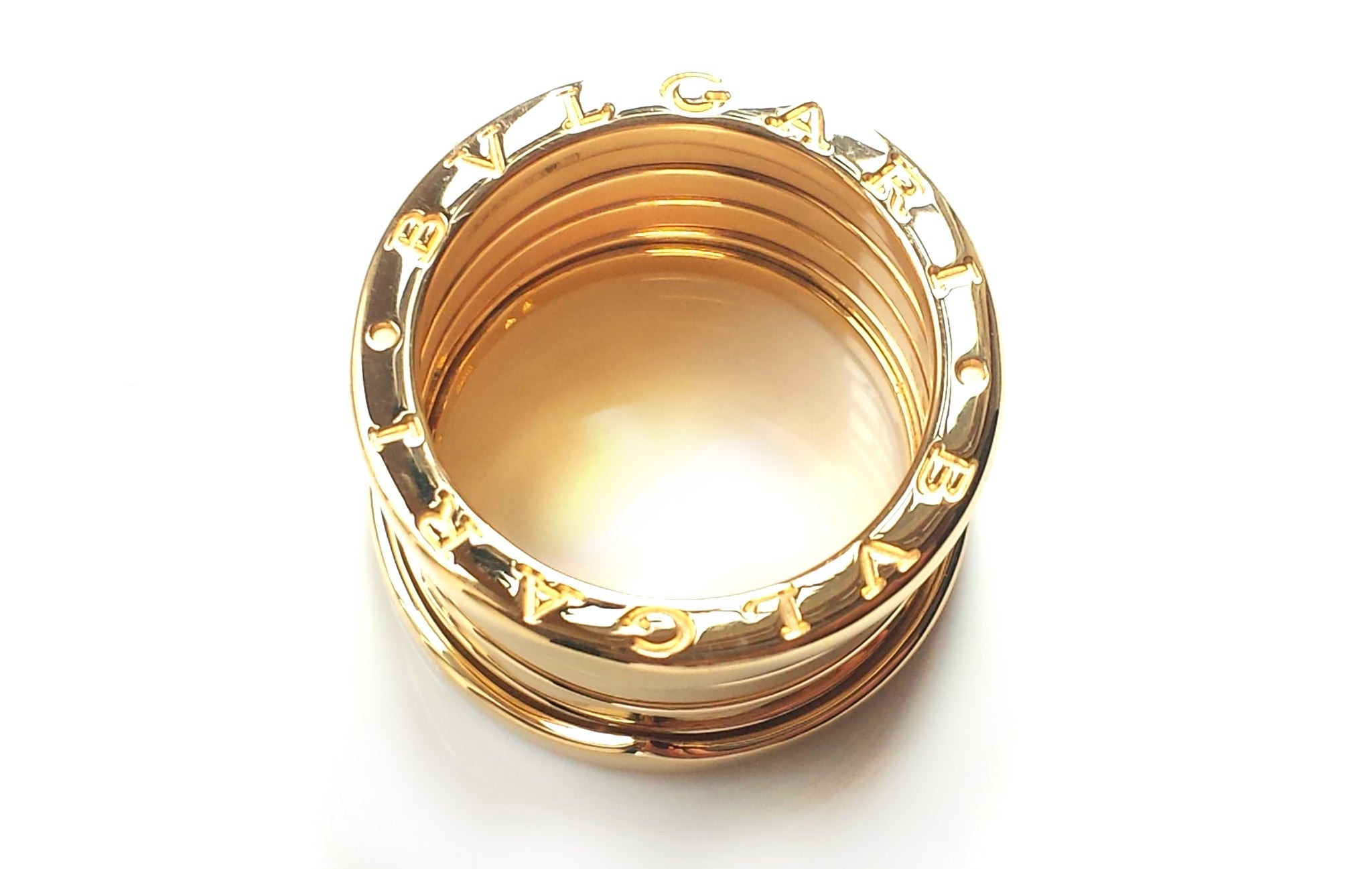 Bulgari Bvlgari BZero1 5 band 18k Yellow Gold Ring Box SZ 57 (Fits P/Q UK; US 8)