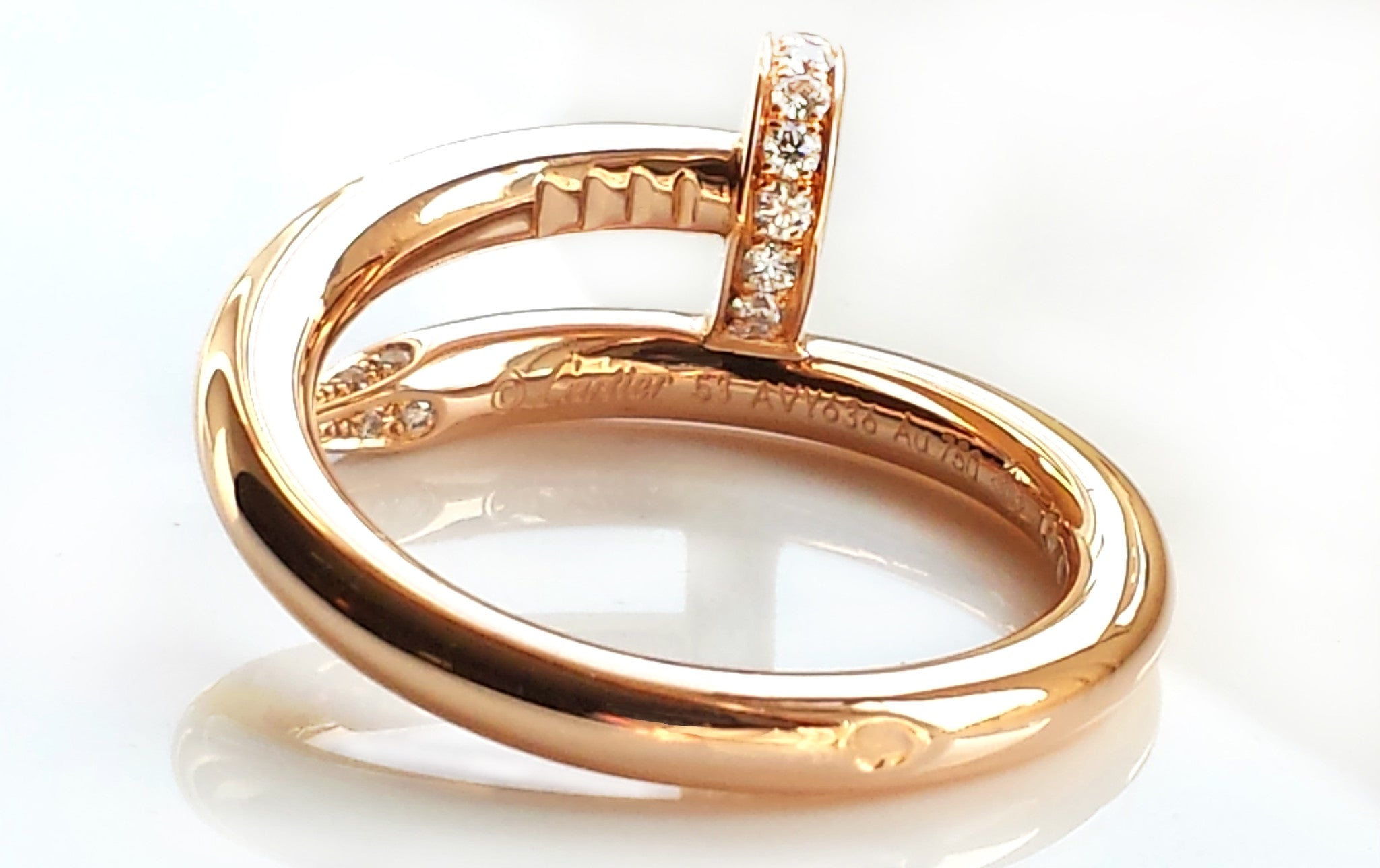 22bb49011b7ce Cartier 18k Rose / Pink Gold & Diamond 'Juste Un Clou' Ring, Size 53