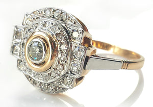 French Art Deco Shield 1.36tcw Diamond Engagement Ring in Platinum & 18k Yellow Gold