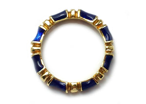 Vintage 1960s Bamboo Tiffany & Co Blue Enamel 18k Yellow Gold Ring Sz N 1/2 VGC