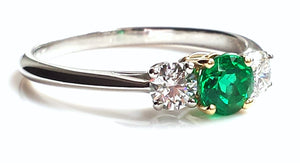 Tiffany & Co. 1.24tcw F/VVS1 3-Stone Emerald & Diamond Engagement Ring