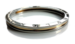 Bulgari B.Zero1 18K Gold & Steel Bangle Bracelet Large (19cm) 7.5 in