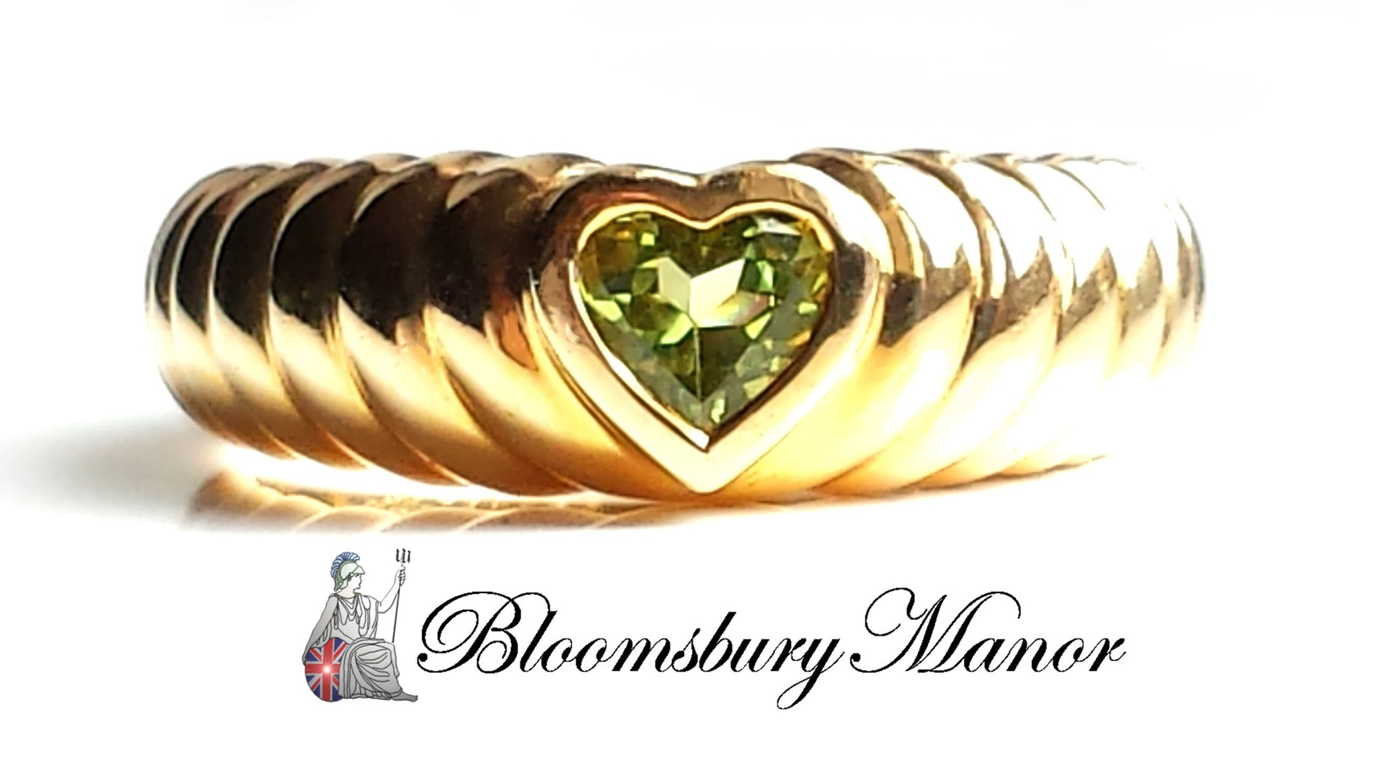 Pre-owned Second Hand Tiffany & Co Peridot Heart Ring