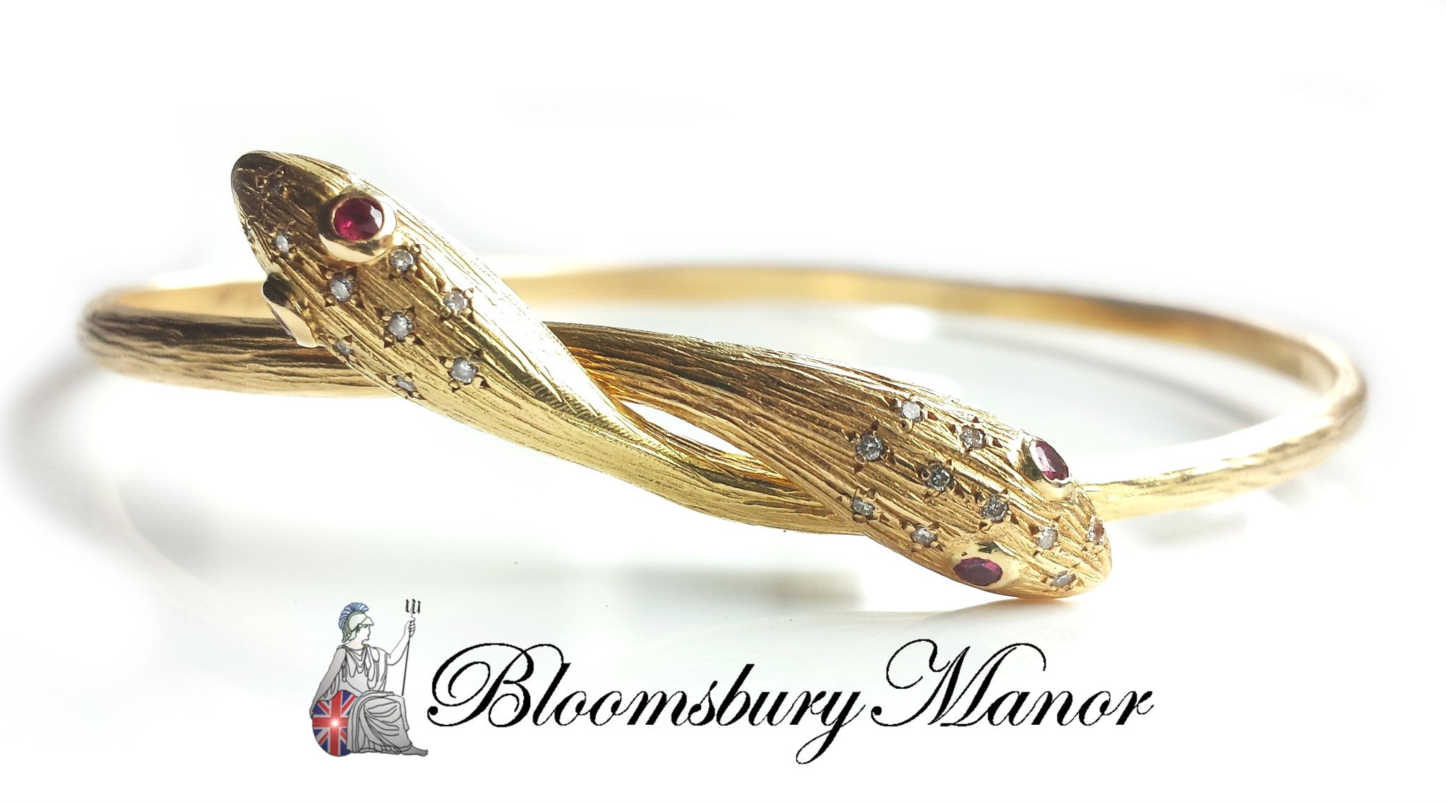vintage 1970s 18k yellow gold serpent snake bangle with rubies