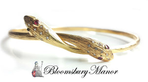 Vintage 1970s 18k Yellow Gold Serpent / Snake Bangle with Rubies & Diamonds
