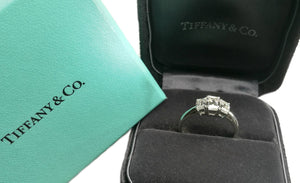 Tiffany & Co. 1.70tcw Emerald Cut 3-Stone Diamond Engagement Ring in box