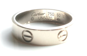 Cartier Love Ring / Wedding Band in 18k White Gold, 5.5mm wide, size 60