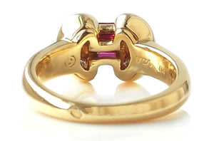 Van Cleef & Arpels 1980s Mystery Set™ Ruby & Diamond 18k Gold Bow Ring