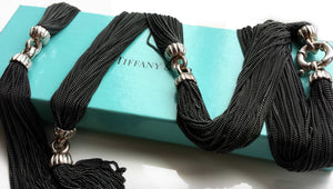 Tiffany & Co Vintage Silver Black Multi Strand Necklace Lifesaver Clasp 30.75in