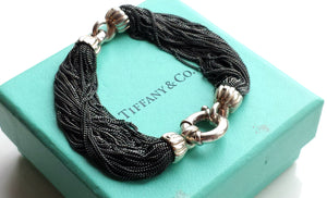 Tiffany & Co. Vintage Silver Black Multi Strand Bracelet Lifesaver Clasp