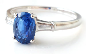 Vintage 1970s Bulgari Sapphire & Diamond Ring in 18k White Gold, Sz J