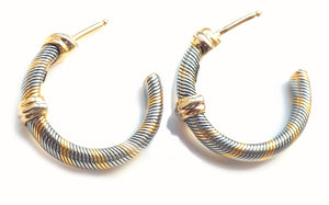 Cartier 1980s Aurore Vintage 18k Yellow Gold & Steel Wire Hoop Earrings