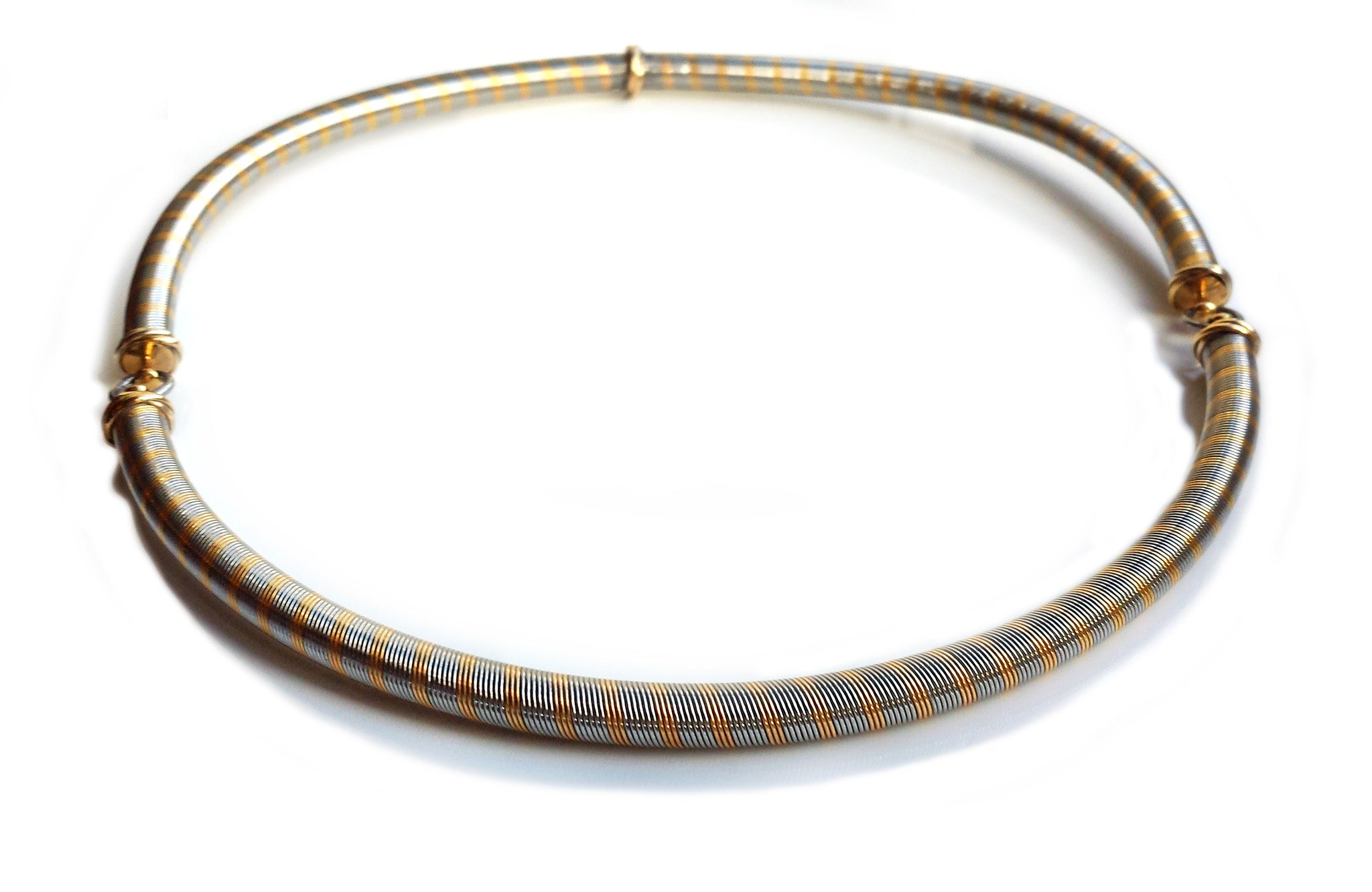 Cartier 1980s Vintage 18k Yellow Gold & Steel Wire Necklace