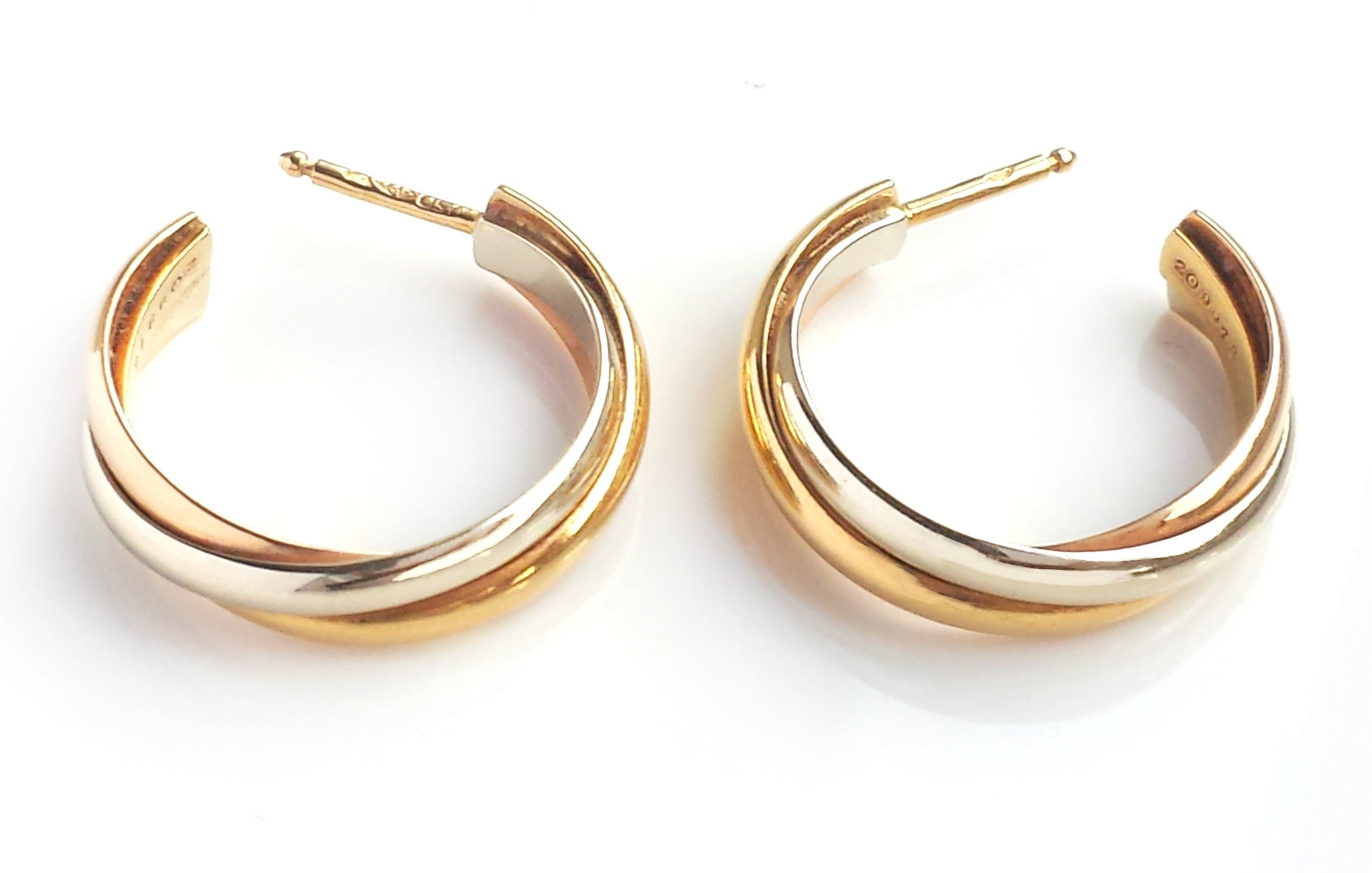 trinity lyst save jewelry in metallic diamond earrings women cartier hoop s de multi