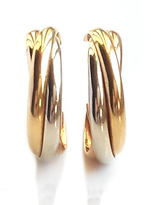 Cartier 1980s Vintage 18k Yellow, White & Rose Gold Trinity Hoop Earrings