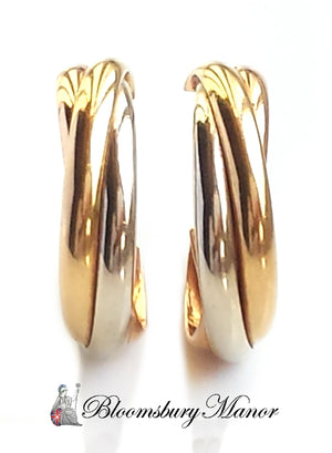pre-owned, second hand, used, Cartier hoop trinity Earrings