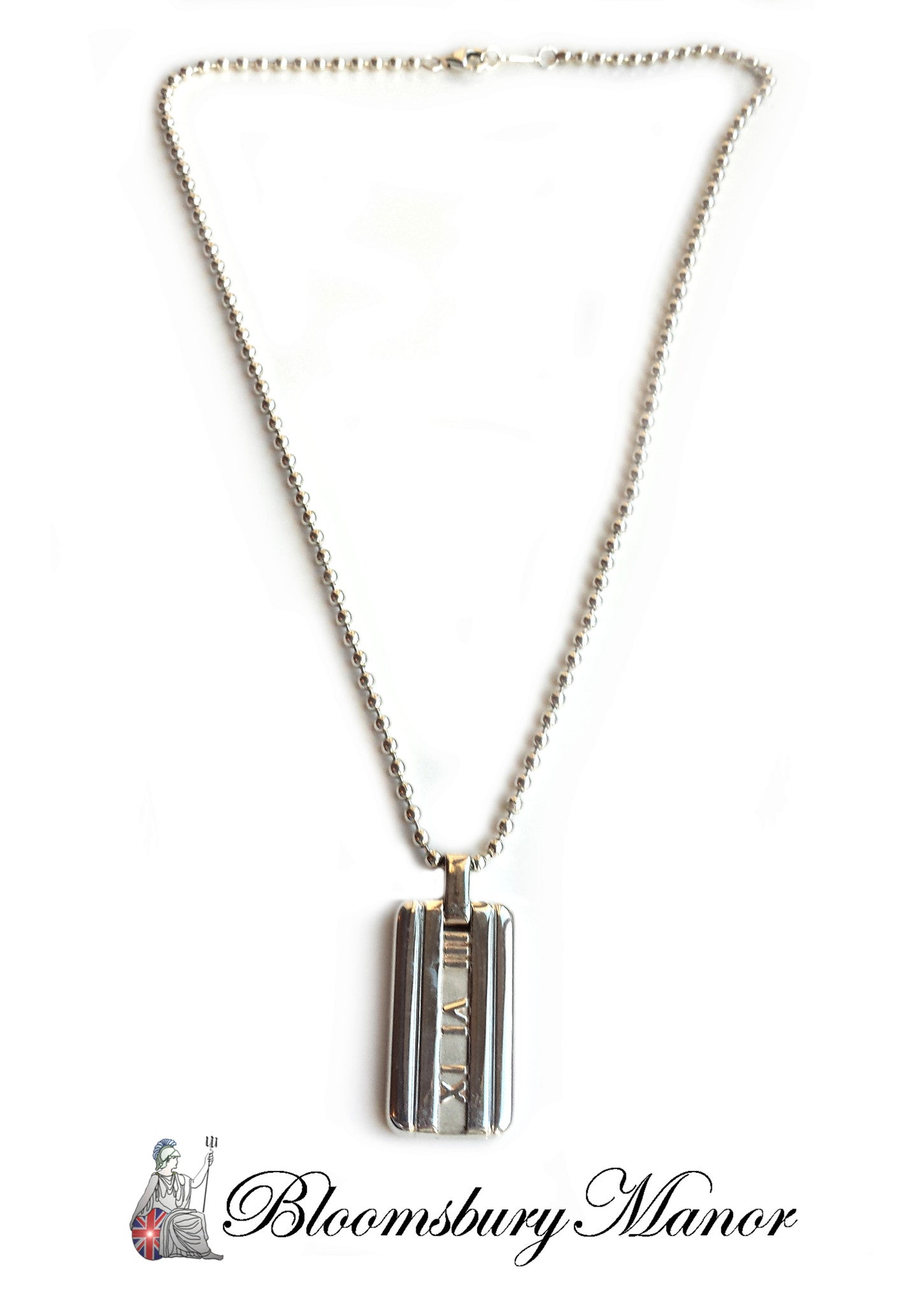 cba7bba13 Tiffany & Co. Silver Atlas 'Dog Tag' Necklace on Bead Link Chain ...