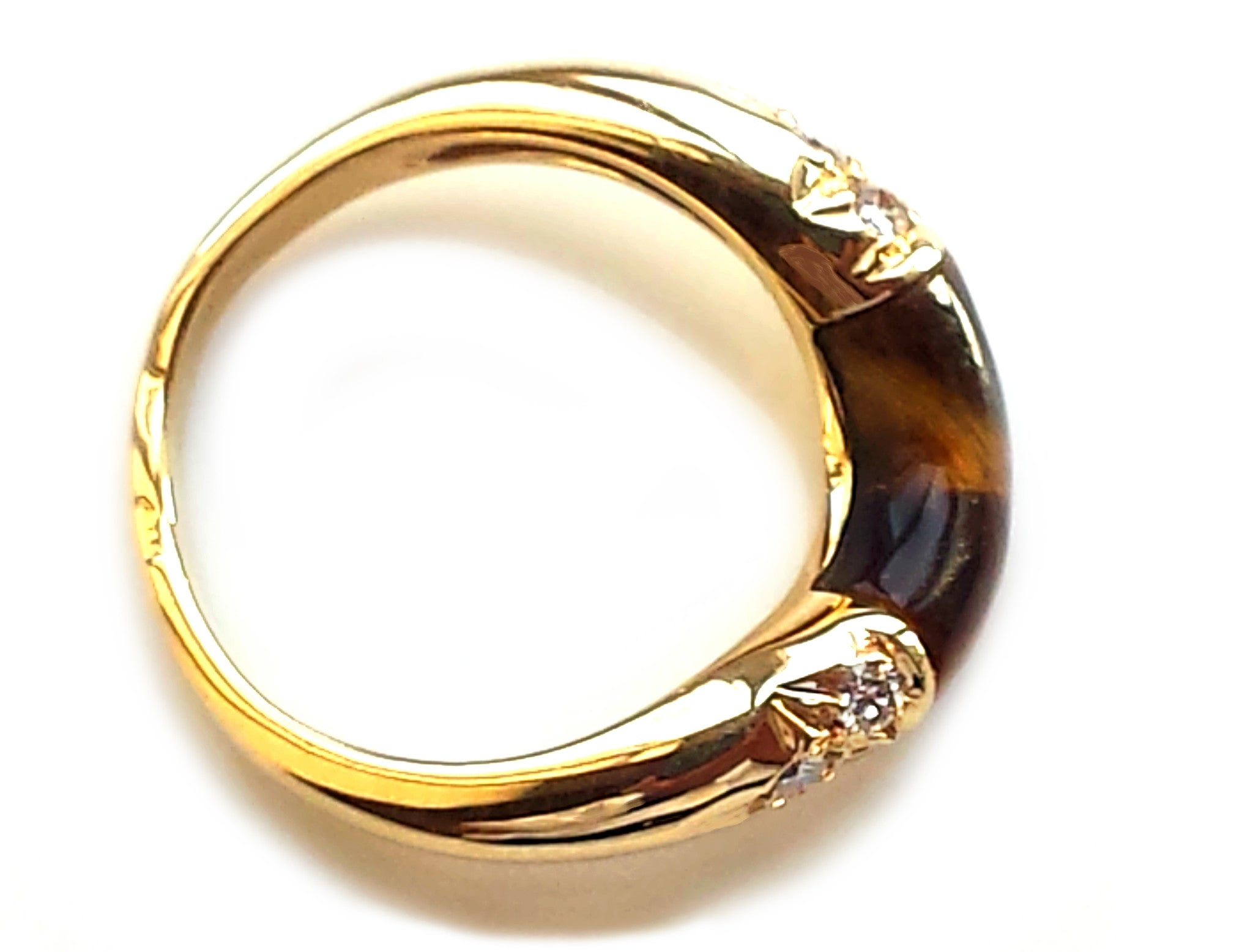 vintage 1960s cartier tigers eye diamond wave ring 18k yellow gold
