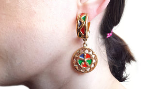 Vintage YSL 1980s Yves Saint Laurent Gold Tone Enamel Drop Earrings