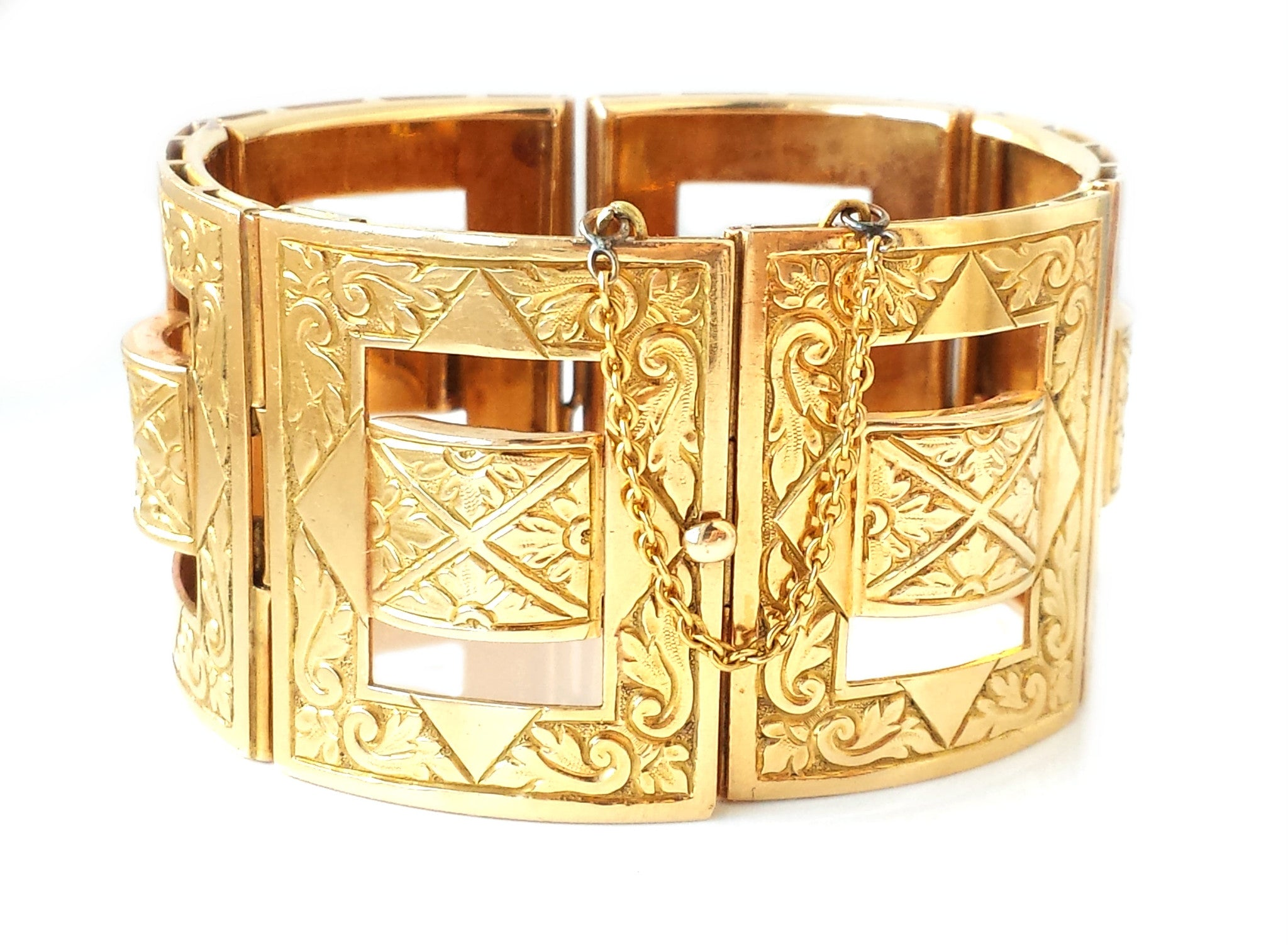 Heavy 98g Engraved 18k Yellow Gold Bangle Bracelet Cuff