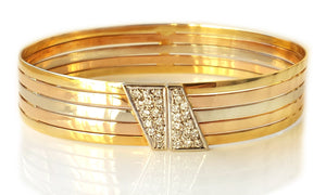 Vintage 1980s French 18k Gold Trinity 3 Colour Diamond bracelet