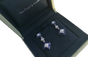 Vintage Van Cleef & Arpels 1960s Mystery Set Diamond, Sapphire & Platinum Earrings