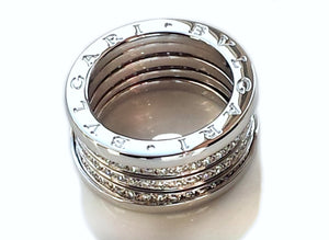 Bulgari B.Zero1 4-Band Diamond Ring in 18k White Gold, Size 56