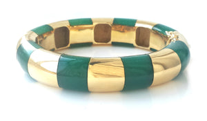 Vintage 1980s Tiffany & Co 18k Gold Inlaid Chrysoprase Striped Bangle 6.3 inches